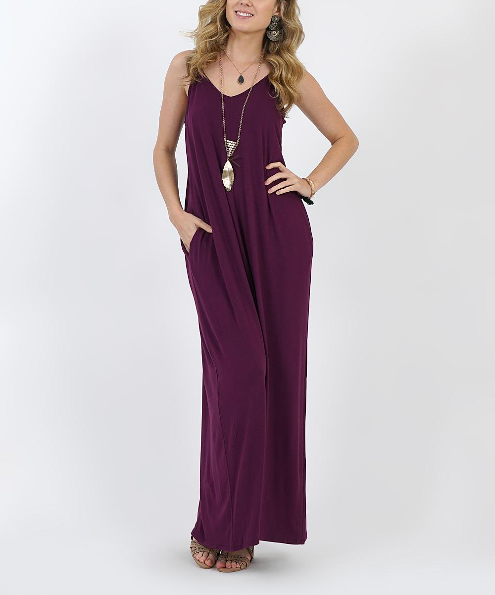 24418cbce93c ... Womens DK PLUM Dark Plum V-Neck Cami Side-Pocket Maxi Dress - Alternate