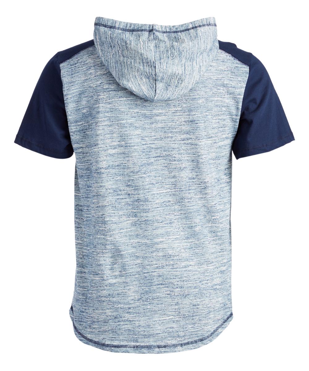 59049b5b4bc Overdrive Heather Blue   Navy Colorblock Short-Sleeve Hoodie - Men ...