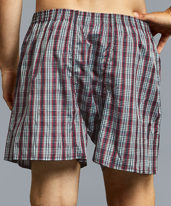 8f044f61bdf3 ... Mens Assorted 12-PACK Blue Plaid 3-Pair Boxer Shorts Set - Alternate  Image
