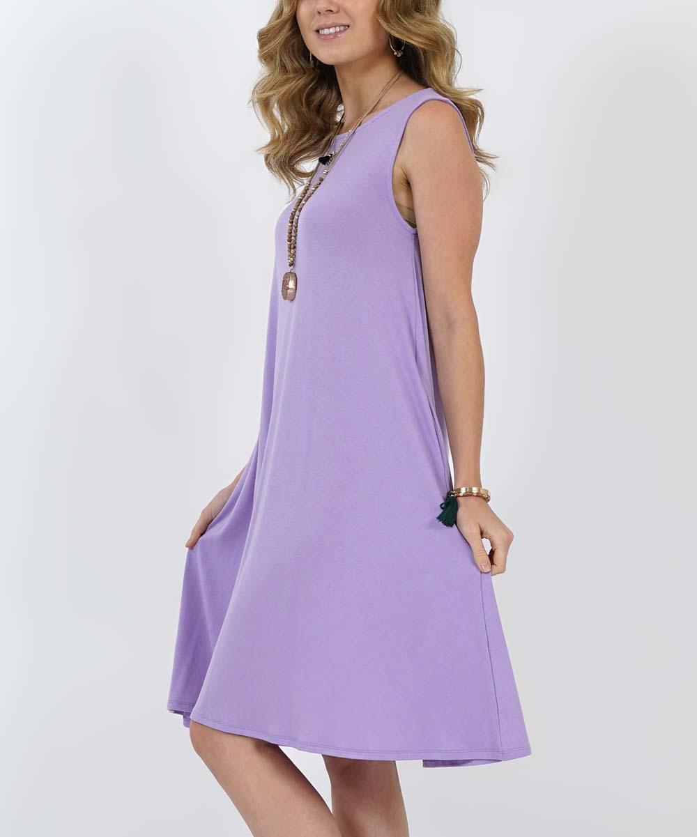 ... Womens LAVENDER Lavender Pocket Sleeveless Dress - Alternate Image 3 ... f3602d8e6e