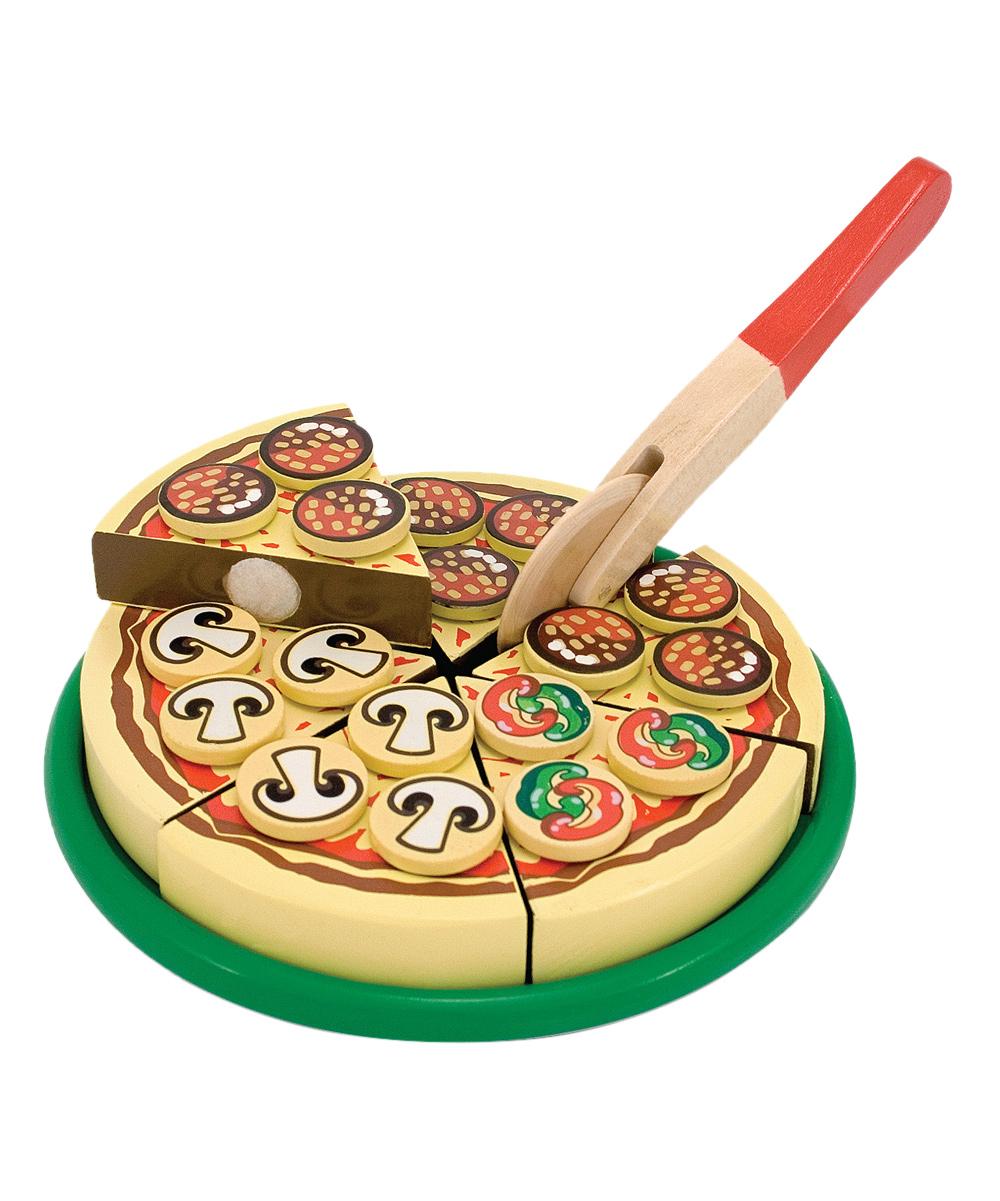 Pretend Play Pizza Set, Self-Sticki Melissa  Doug Pizza Party Wooden Play Food