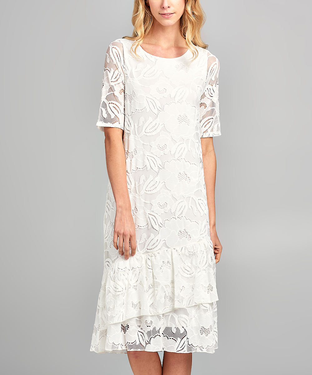 8add9a20e0 Spicy Mix Ivory Floral Lace-Overlay Shift Dress - Women