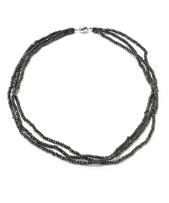 a0a90a97d30 V3 Jewelry® Black Spinel & Sterling Silver Layered Bead Necklace