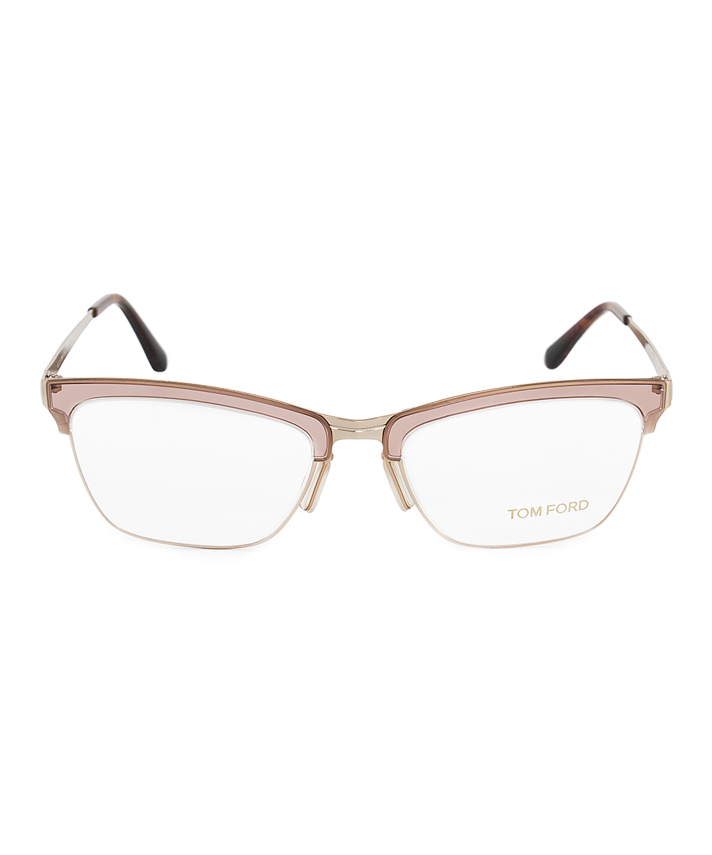 d0cbd48695f ... Womens Brown Brown Matte Square Half-Rim Eyeglasses - Alternate Image 2  ...