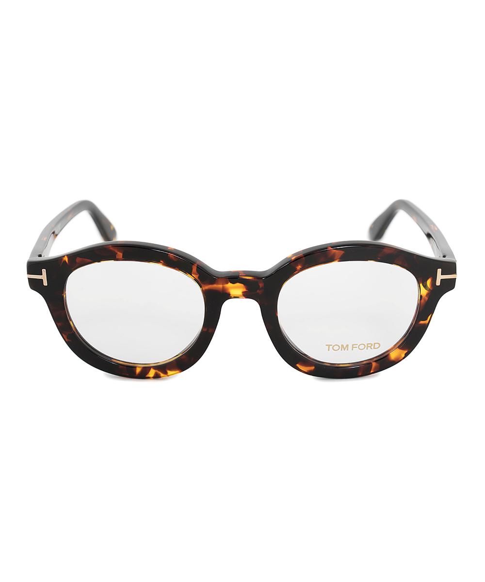 5bbc7f4ce8 ... Womens Dark Havana Dark Havana Stripe-Arm Round Eyeglasses - Alternate  Image 2 ...