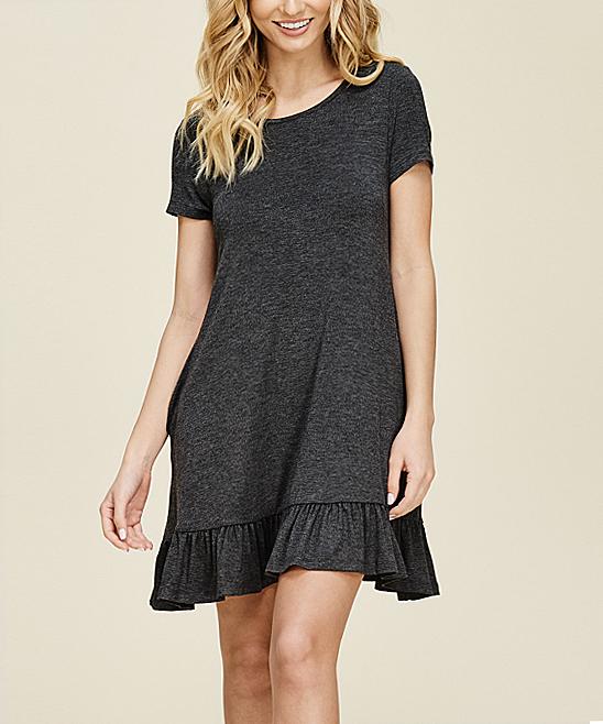 f57c183f159e Annabelle USA Mid Gray Ruffle-Hem T-Shirt Dress - Women & Plus | Zulily