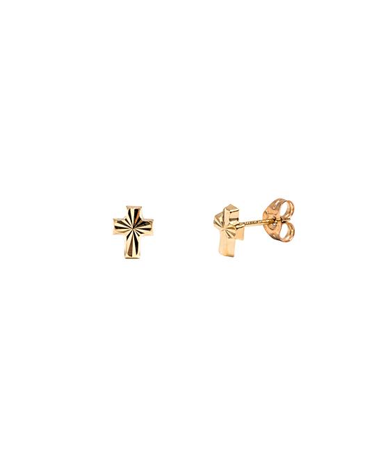 Best Silver Kids Girls' Earrings  - 14k Gold Cross Stud Earrings