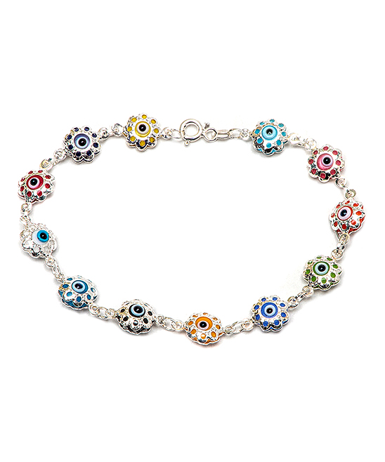 Best Silver Kids Girls' Anklets  - Sterling Silver & Yellow Floral Evil Eye Station Anklet