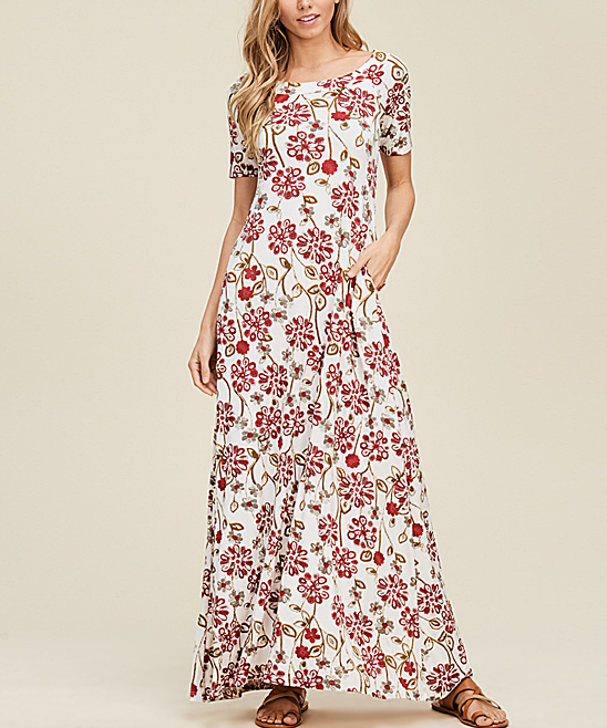 c3a99864a67 Annabelle USA Off-White Floral Pocket Crisscross-Back Maxi Dress ...