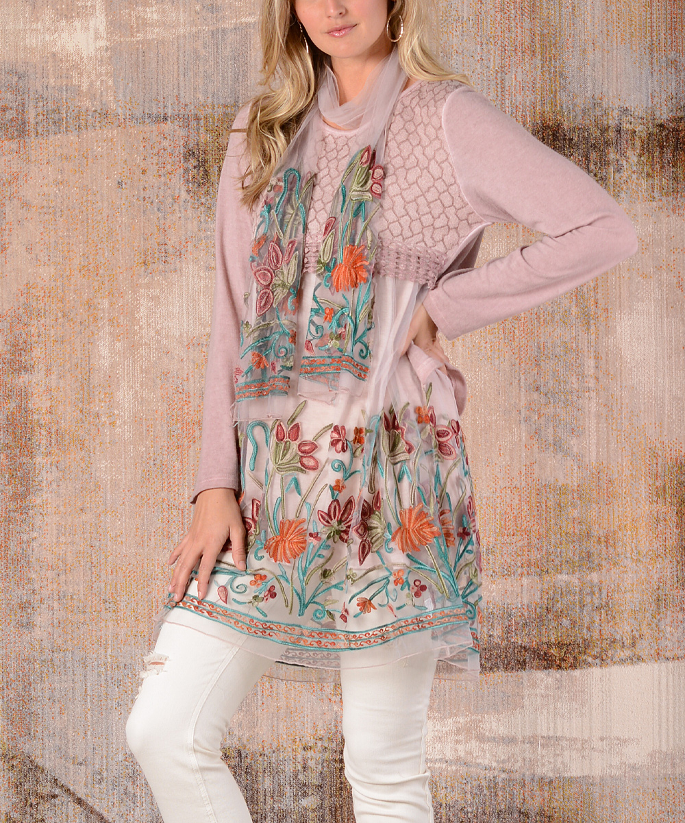 2c4fadb1d73 ... Womens PINK Pink Floral-Embroidery Layered Tunic Dress & Scarf -  Alternate Image 3