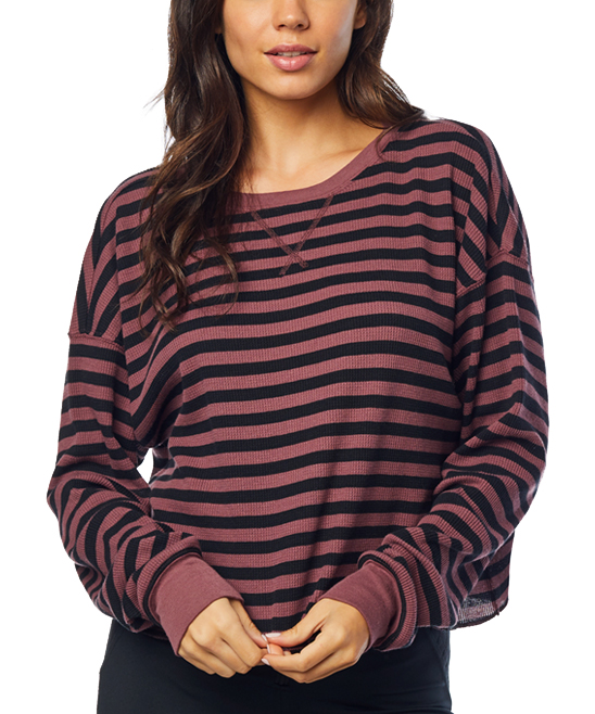 a2c4af45974 Fox Rose & Black Striped Out Thermal Long-Sleeve Crop Top - Women