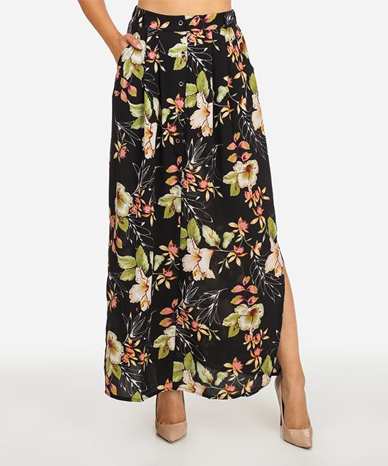 c4d444af0ee Red Leaf Black Floral High-Waist Button-Up Maxi Skirt - Juniors