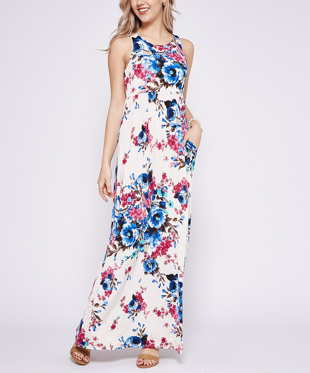 bb45383d0ee Ivory   Blue Floral Racerback Maxi Dress - Women