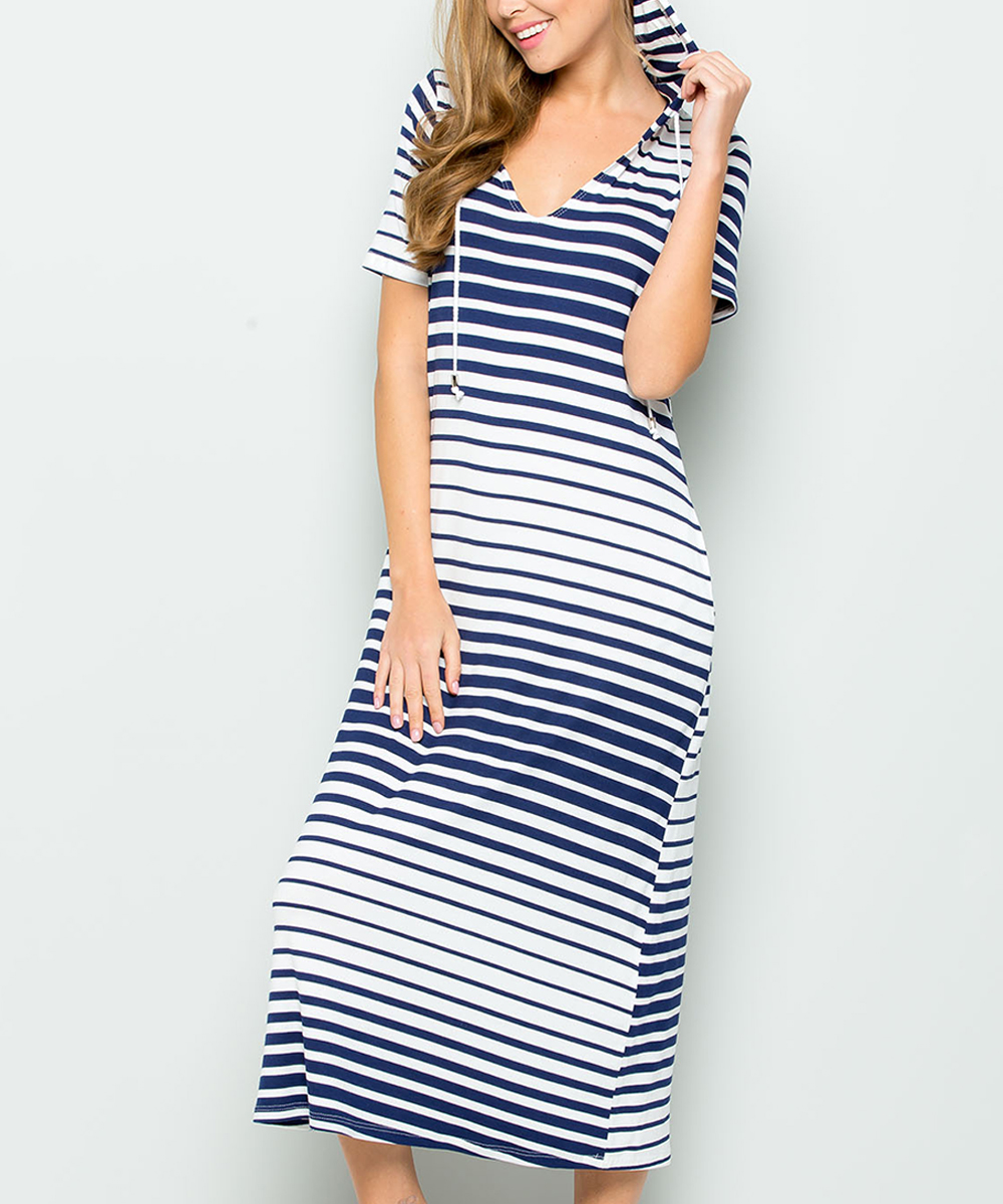 all gone. Navy Stripe Hooded T-Shirt Dress - Women 8d517b4fb3