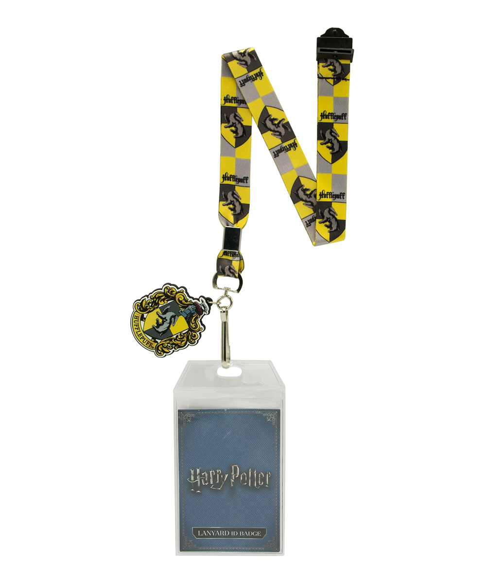 Harry Potter Hufflepuff Badge Holder & Charm Lanyard Harry Potter Hufflepuff Badge Holder & Charm Lanyard. Take magic with you on-the-go with this house-themed lanyard that boasts a badge holder and a matching charm.Graphic text (lanyard/repeating): Hufflepuff emblem23'' LPolyester / rubberImported