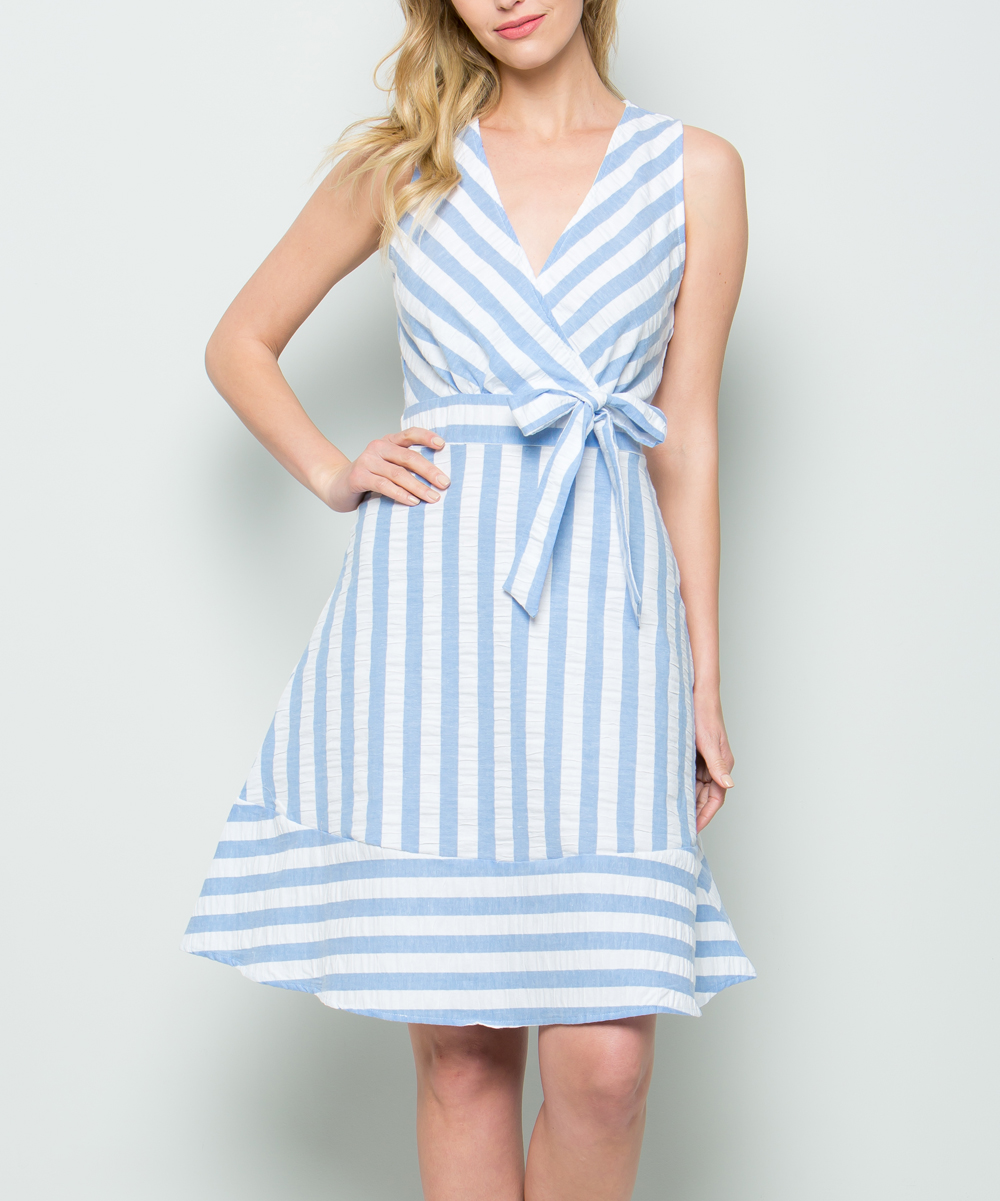 27c8752874e4 CY Fashion Blue Stripe Sleeveless Dress - Women