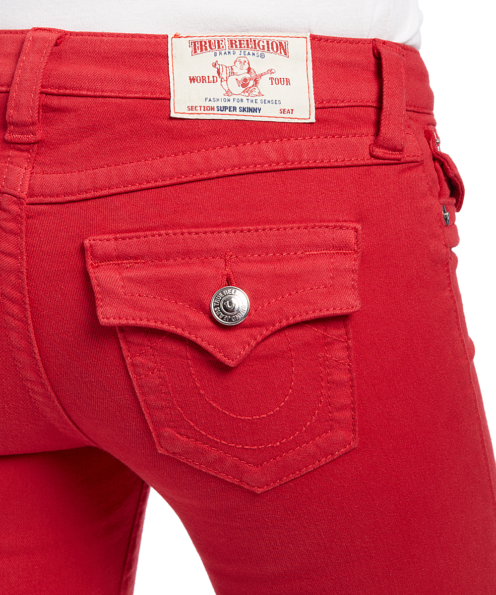 5f430bd77 True Religion Ruby Red Embroidered-Pocket Super Skinny Jeans - Women ...
