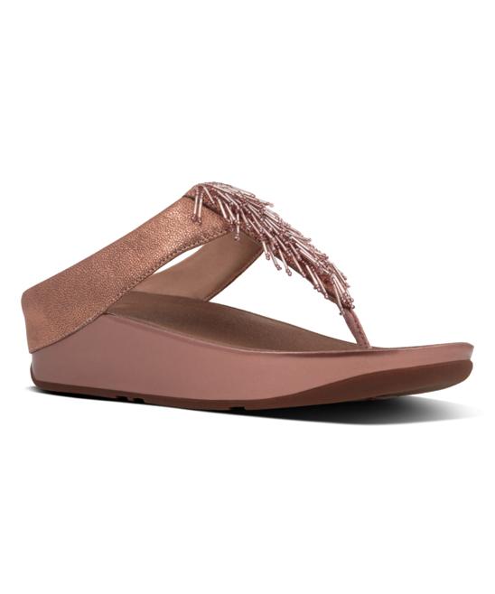 1db60ff34c31 FitFlop Rose Gold Cha Cha Leather Toe-Thong Sandal - Women