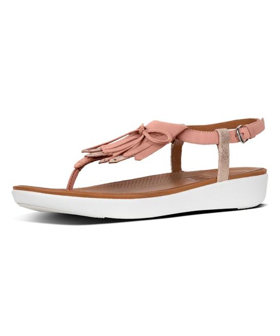 668b088fff59c FitFlop Dusky Pink   Peach Foil Tia Fringe Leather Toe-Thong Sandal ...