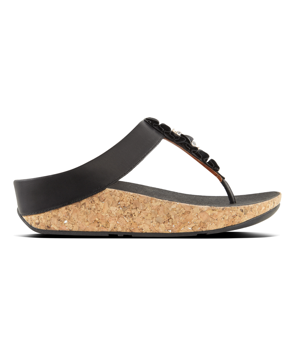 50a6e17e18aac8 love this product Black Ruffle Leather Toe-Thong Sandal - Women