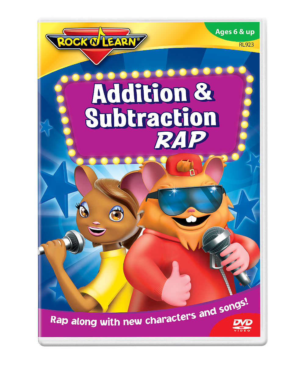Addition & Subtraction Rap DVD Addition & Subtraction Rap DVD. Winner of over 150 awards, Rock 'N Learn programs teach and entertain with music, humor and fun characters. Augment learning with a DVD as entertaining as it is educational. With the help of DJ Doc Roc, students will learn about addition and subtraction, solving sums up to 18 and differences from 18. See how it works. Run time: approx. 55 minutesRecommended for ages 6 years and upMade in the USA