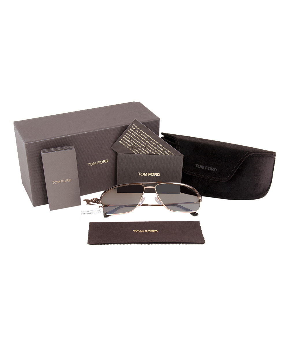 26beed3611 Tom Ford Dark Brown   Gold Justin Polarized Sunglasses