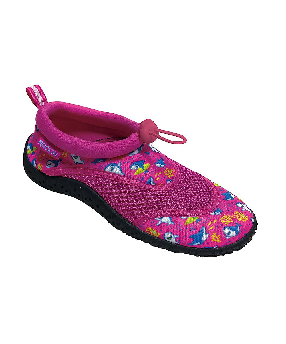 Rockin Footwear Girls' Water shoes PINK - Pink Aqua Shark Water Shoe - Girls