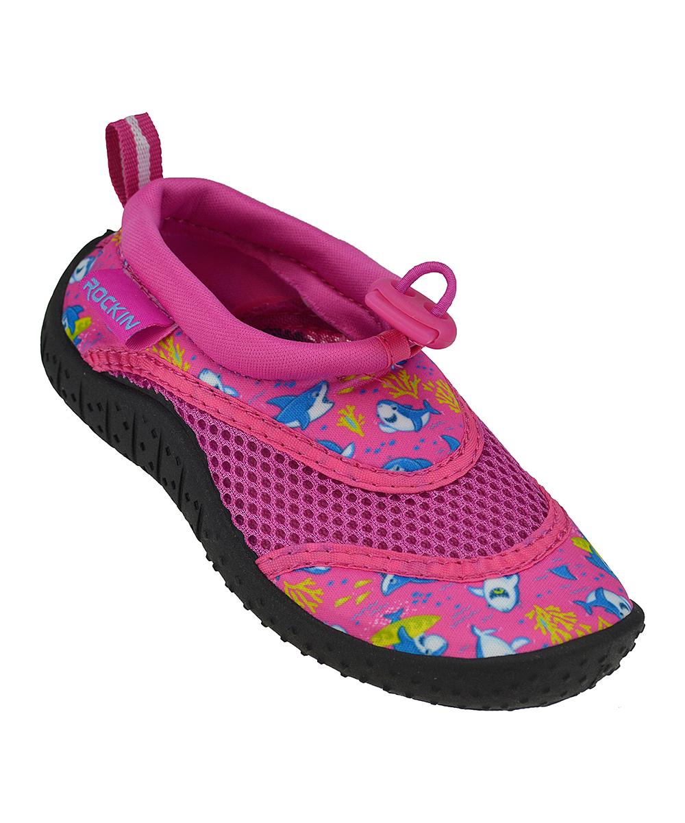 Rockin Footwear Girls' Water shoes BLACK - Pink Aqua Shark Water Shoe - Girls
