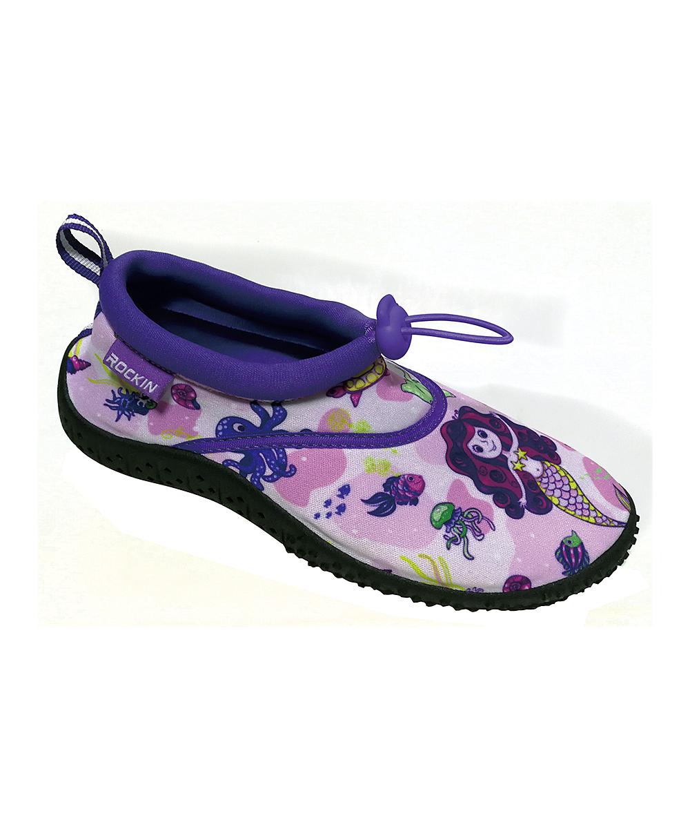 Rockin Footwear Girls' Water shoes PURPLE - Purple Aqua Mermaid Water Shoe - Girls