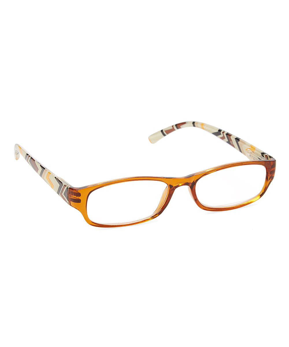 Brown Zigzag-Accent Readers - Women Brown Zigzag-Accent Readers - Women. Keep your vision in focus with the help of these sleek reading glasses decorated with a lively design for added charm. Includes readers and caseLens width: 50 mmBridge distance: 20 mmArm length: 150 mmPlasticImported