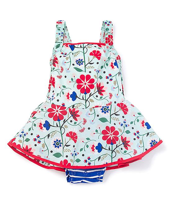 28f3cc2b2a0f ... Girls White   Red Floral Sleeveless Americana Bubble Romper - Alternate  Image 4