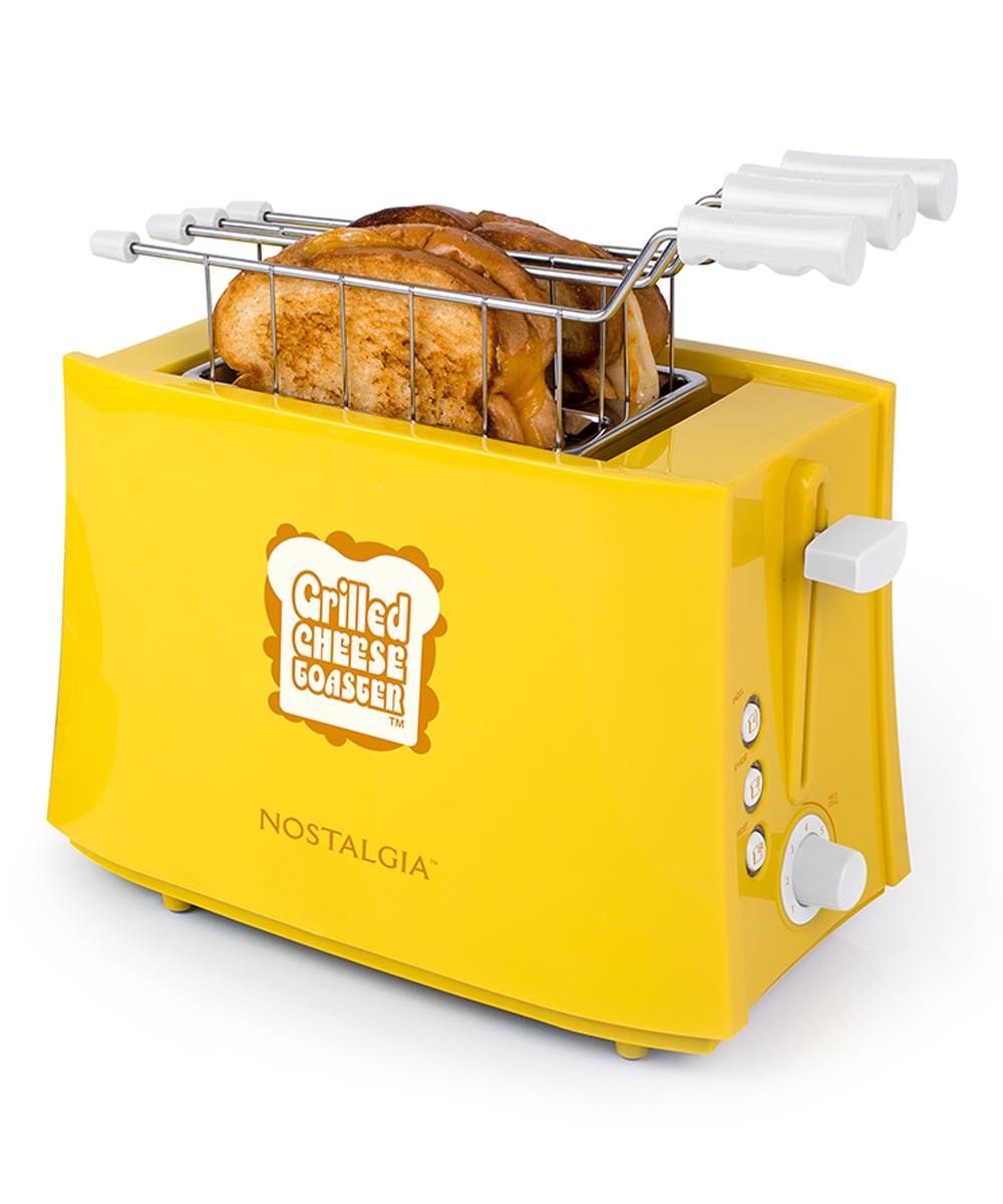 Nostalgia Electrics  Toaster Ovens  - Grilled Cheese Sandwich Toaster Grilled Cheese Sandwich Toaster. Get grilled cheese in an instant thanks to this fun and vibrant toaster.Full graphic text: Grilled cheese toaster. Nostalgia.10.75'' W x 6'' H x 7.5'' DMetal / plasticHand washImported