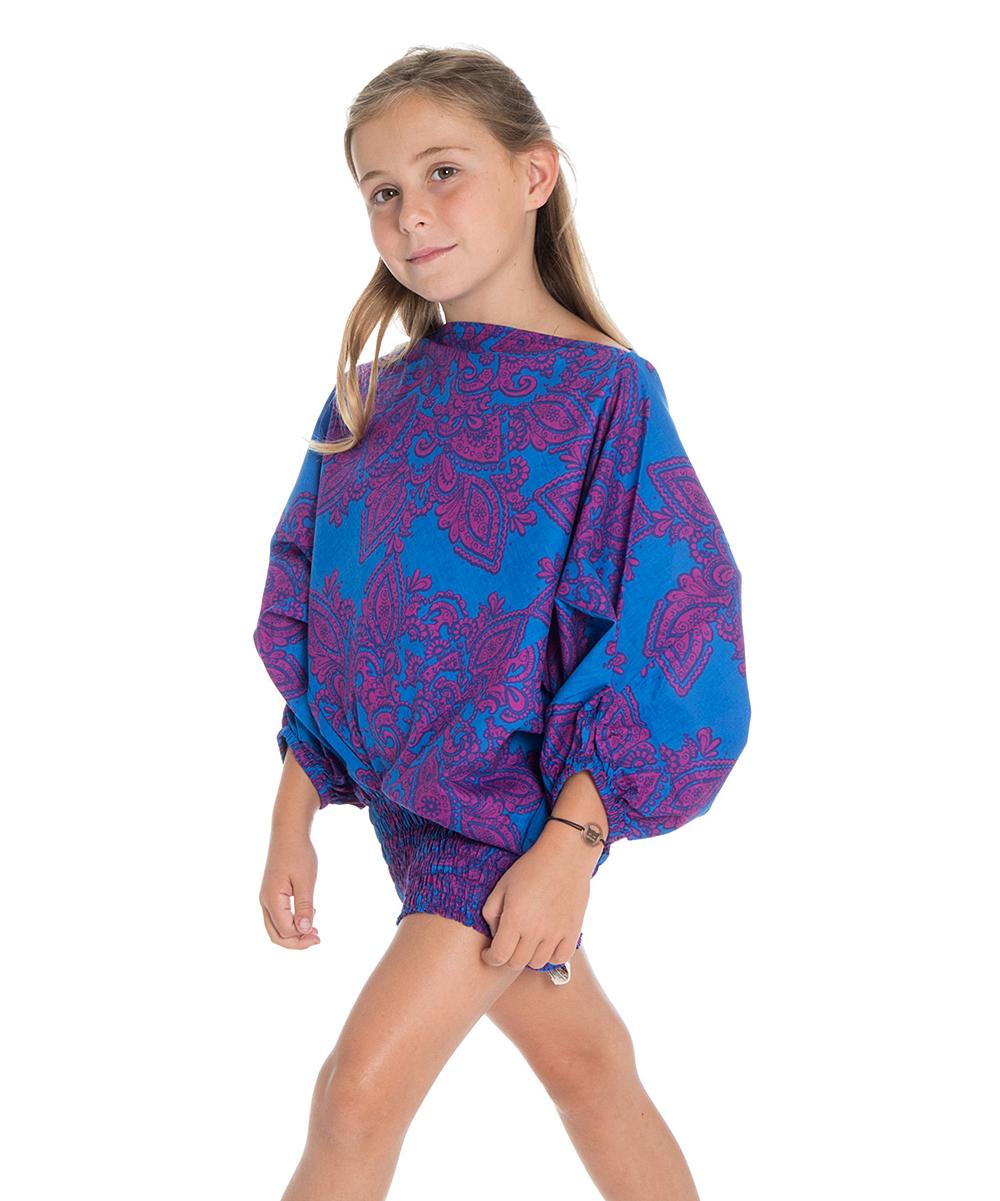 86ffefe9fe0e Aller Simplement Blue   Purple Geometric Convertible Romper ...