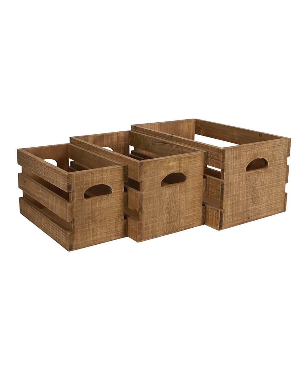 Cheungs Rattan Imports Wood Slat Nesting Crate Set