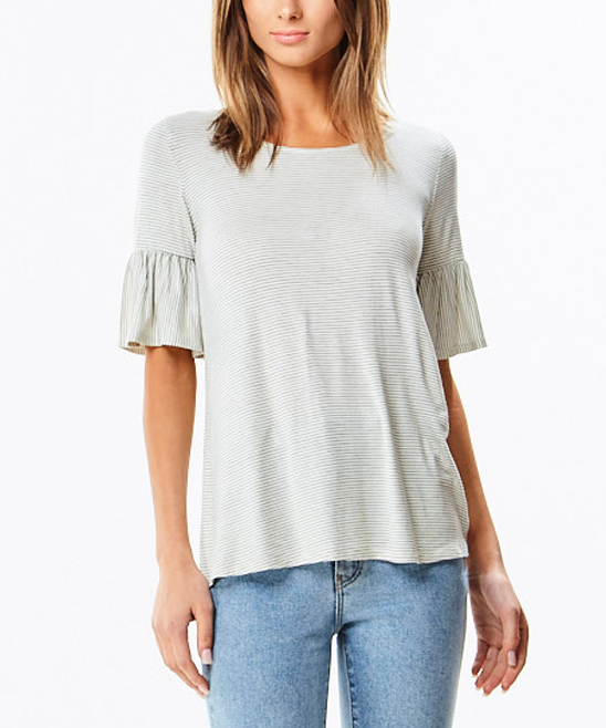 2ff727a0c91a5 love this product Ivory Pin Stripe Ruffle-Sleeve Swing Top - Women
