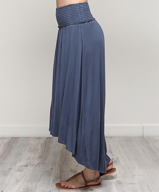 8dfd11ee7 ... Womens WASHED NAVY Washed Navy Smocked-Waist Split-Front Midi Skirt -  Alternate Image ...
