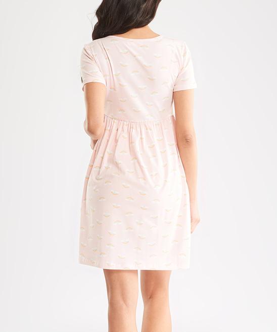 5acadf36db30c ... Womens pink Pink Floral Surplice Maternity/Nursing Nightgown -  Alternate Image 2 ...