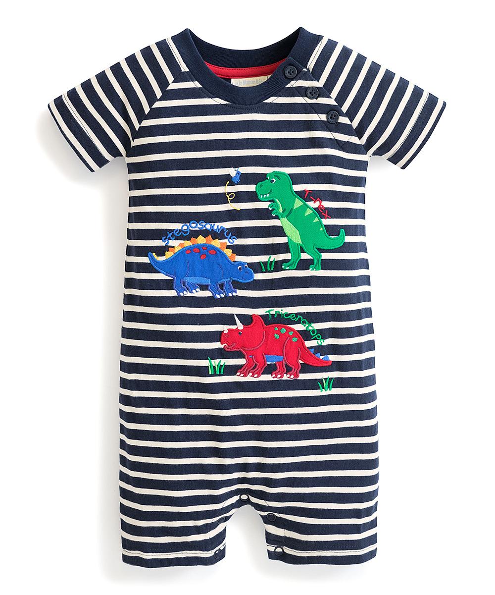 4f4d2e32b3b JoJo Maman Bébé Navy   White Stripe Dino Romper - Infant