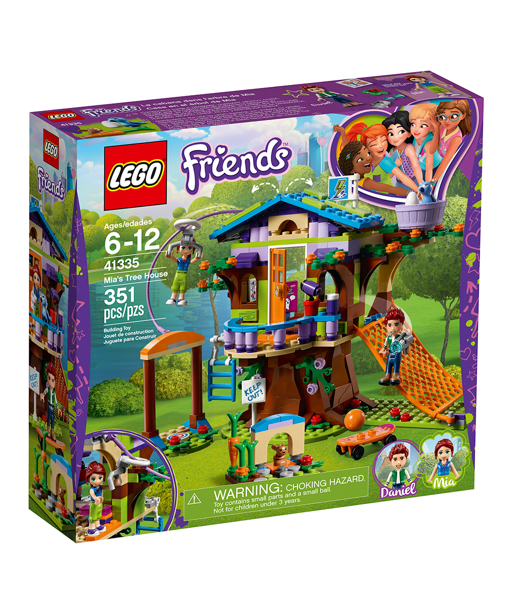 LEGO Friends Mia's Tree House LEGO Friends Mia's Tree House. Tag along with Mia and friends as they swing from the rafters of her tree house. The set includes multiple levels and a water gun that the whole cast of characters can shoot at uninvited guests.FeaturesIncludes Mia and Daniel mini-doll figures, Mimi the bunny and Cinnamon the bird figures, tree house and bunny houseAccessories include skateboard, water gun, torch, ghost stories book, artwork tiles, pizza, 'I love Heartlake City' mug, board game, map of Heartlake City Park, boomerang, love letter tile, ball, bird nest, egg and carrotTree house features ladder, scramble net, attic with opening roof and storage box and tree trunk with storage boxProduct DetailsItem 41335351 piecesTree house: 6'' W x 6'' H x 6'' DBunny house: 1'' W x 1'' H x 1'' DABS plasticRecommended for ages 6 to 12 yearsMade in Denmark