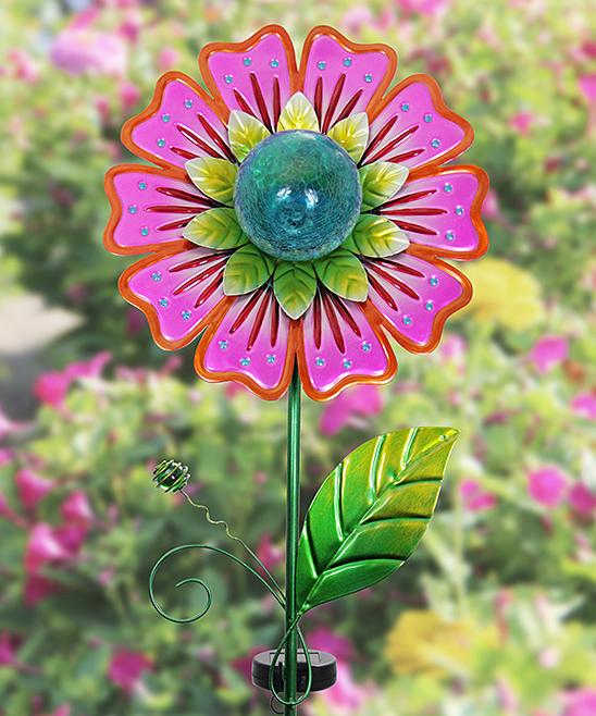 Pink Flower Solar Garden Stake