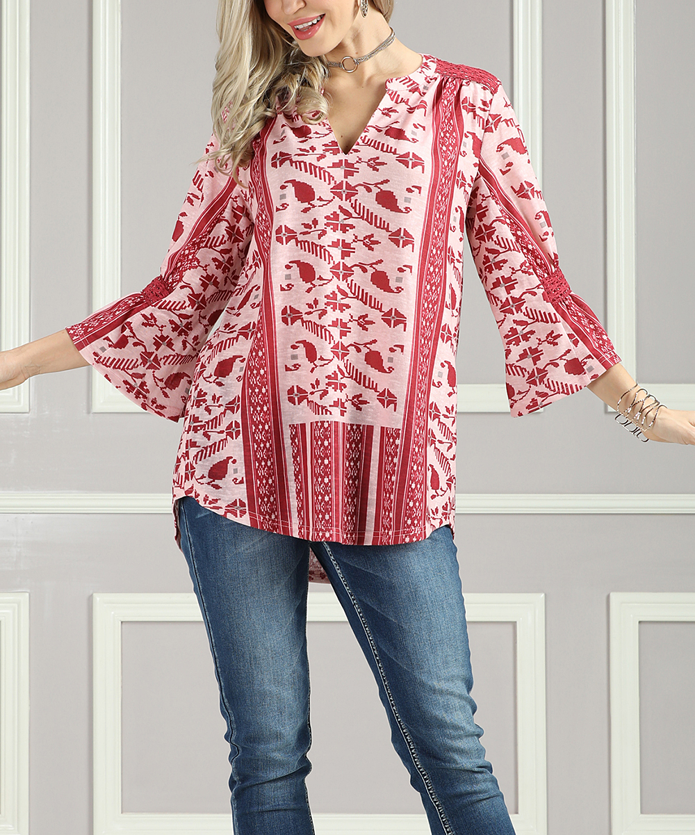 f415fb815a7 Suzanne Betro Weekend Red & White Floral Henley - Plus Too
