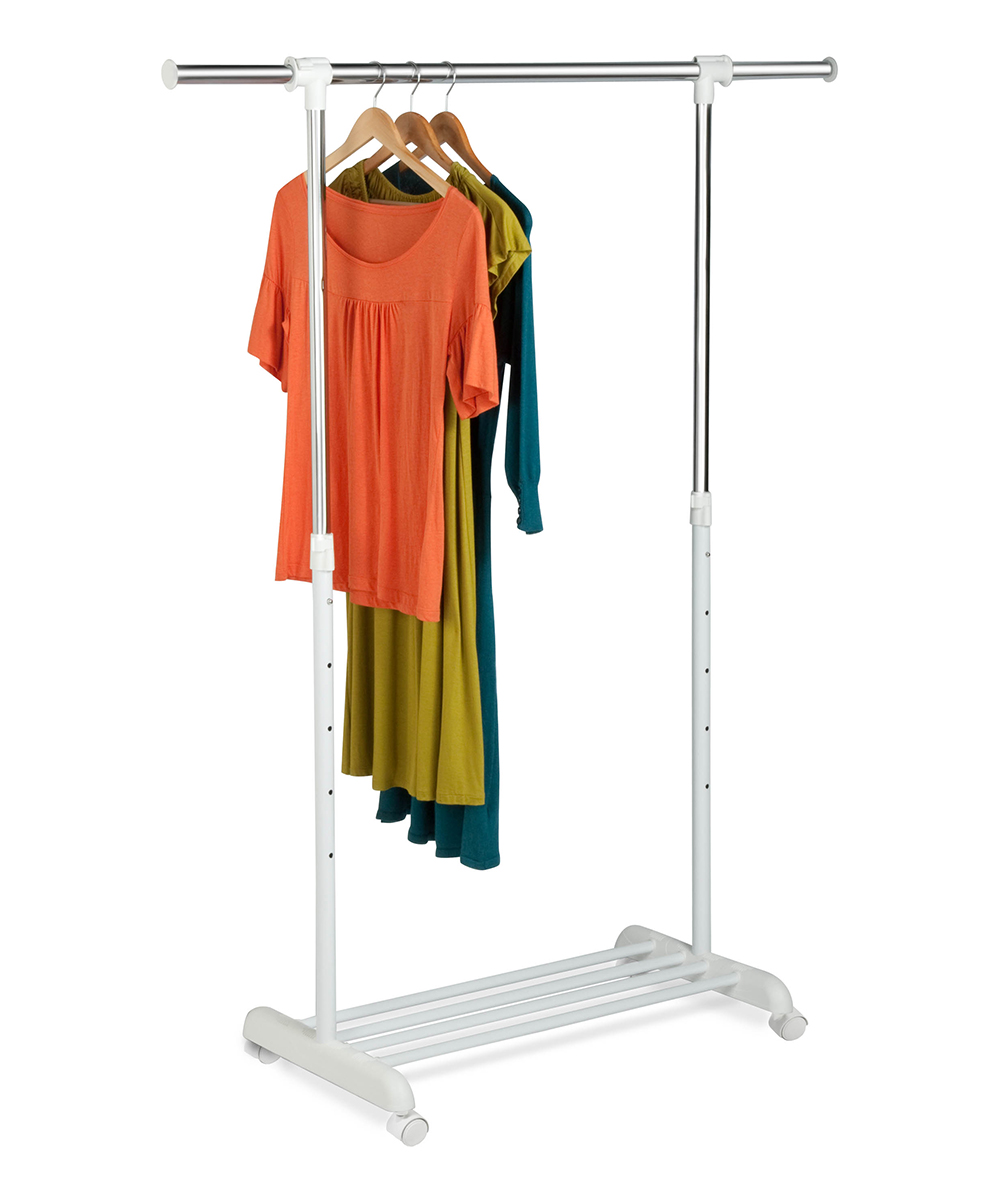 Chrome & White Garment Rack Chrome & White Garment Rack. This garment rack offers quick accessibility to your clothing and boasts a sleek design that complements your room aesthetic. 17'' W x 63.5'' H x 53.25'' DSteelAssembly requiredImported