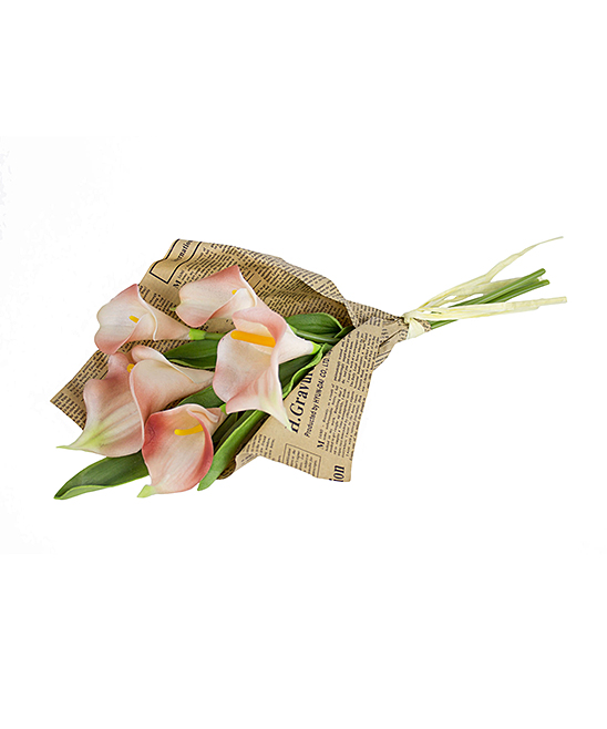 Coral Calla Lily Newspaper Bundle