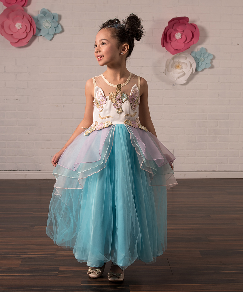 f573da6d8ab7 Just Couture Blue Unicorn Ruffle-Accent A-Line Dress - Toddler ...
