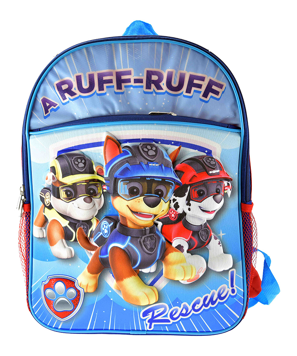 PAW Patrol Molded-Front Backpack PAW Patrol Molded-Front Backpack. Your youngster carries their daily essentials in PAW Patrol fashion with this action-packed backpack.  16'' HPolyesterSpot cleanImported