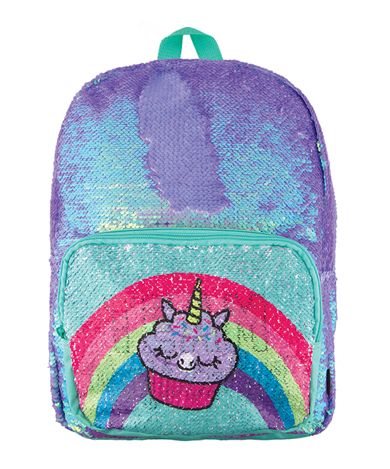 Magic Sequin Periwinkle Pocket Reveal Backpack Magic Sequin Periwinkle Pocket Reveal Backpack. Add a special touch of shimmer and novelty to your little one's adventures with this magical backpack that glitters with whimsical color. 12.25'' W x 16.5'' H x 5.5'' DStandard backpack sizePolyester / nylon / sequinZip closureOne exterior zip pocketImported