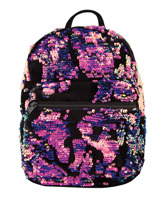 Magic Sequin Velvet Mini Backpack Magic Sequin Velvet Mini Backpack. This backpack may be small and practical, but it also oozes with glamour thanks to a glimmering display of sequins.7.5'' W x 10.25'' H x 3.5'' DPolyester / nylon / sequinZip closureOne exterior zip pocketImported
