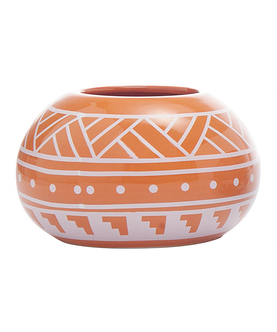 Orange Geometric Planter. Give your plants a happy home with this planter boasting a rich hue and classic geometric design.  2.75\\\'\\\' H x 4.5\\\'\\\' diameterDolomiteImported