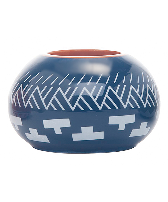Blue Geometric Planter. Give your plants a happy home with this planter boasting a rich hue and classic geometric design.  2.75\\\'\\\' H x 4.5\\\'\\\' diameterDolomiteImported