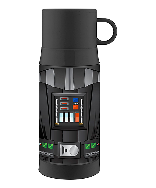 Star Wars Darth Vader Insulated 12-Oz. Thermos Star Wars Darth Vader Insulated 12-Oz. Thermos. This handy thermos combines entertainment-loving panache with travel-ready convenience thanks to heat-trapping stainless steel and an adventurous graphic. Pour your toasty beverage into the attached-handle lid to enjoy a cupful of goodness. Includes thermos and lidHolds 12 oz.Stainless steel / plasticHand washImported